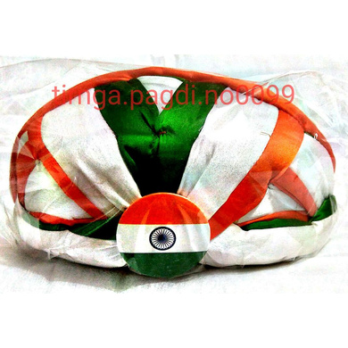 S H A H I T A J Traditional Rajasthani Faux Silk Tricolor or Tiranga Jaipuri Gol Pagdi Safa or Turban Multi-Colored for Kids and Adults (RT143)-ST221_21andHalf