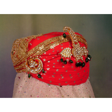 S H A H I T A J Traditional Rajasthani Cotton Wedding Pagdi or Turban Multi-Colored for Groom or Dulha (MT144)-ST223_23andHalf