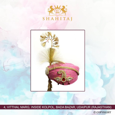 S H A H I T A J Traditional Rajasthani Cotton Wedding Pagdi or Turban Multi-Colored for Groom or Dulha (MT146)-ST225_23andHalf
