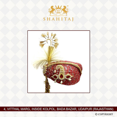 S H A H I T A J Traditional Rajasthani Cotton Wedding Pagdi or Turban Multi-Colored for Groom or Dulha (MT147)-ST226_21andHalf