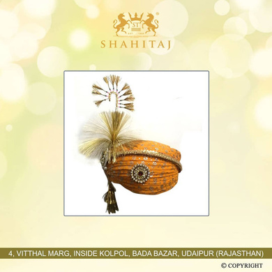 S H A H I T A J Traditional Rajasthani Cotton Wedding Pagdi or Turban Multi-Colored for Groom or Dulha (MT148)-ST227_23andHalf
