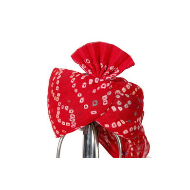 S H A H I T A J Traditional Rajasthani Cotton Red Bandhej Wedding Barati Udaipuri Pagdi Safa or Turban for Kids and Adults (RT151)-ST231_22andHalf
