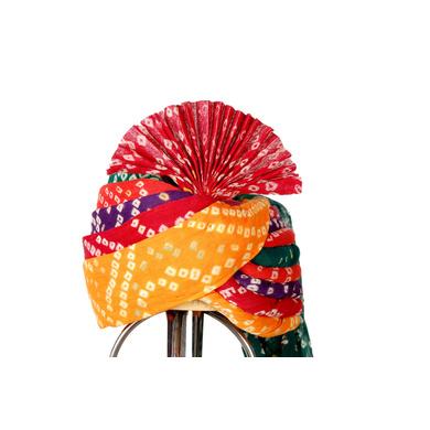 S H A H I T A J Traditional Rajasthani Cotton Multi-Colored Bandhej Wedding Barati Jodhpuri Pagdi Safa or Turban for Kids and Adults (RT152)-ST232_20andHalf