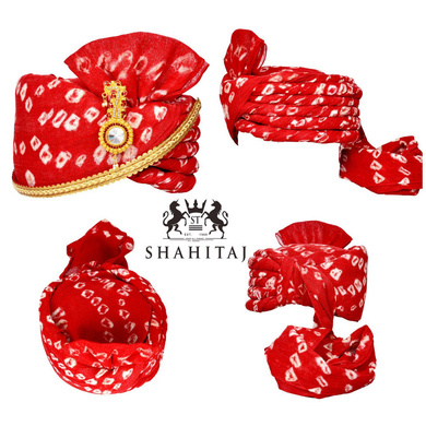 S H A H I T A J Traditional Rajasthani Cotton Red Bandhej Wedding Barati Udaipuri Pagdi Safa or Turban with Brooch and Pachewadi for Kids and Adults (RT153)-ST233_22andHalf