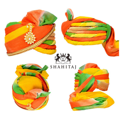 S H A H I T A J Traditional Rajasthani Cotton Wedding Barati Jodhpuri Pagdi Safa or Turban Multi-Colored with Brooch and Pachewadi for Kids and Adults (RT157)-ST237_18andHalf