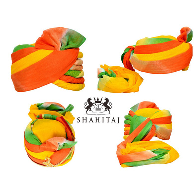 S H A H I T A J Traditional Rajasthani Cotton Wedding Jodhpuri Pagdi Safa or Turban Multi-Colored for Kids and Adults (RT158)-ST238_18andHalf