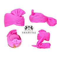S H A H I T A J Traditional Rajasthani Cotton Pink Wedding Barati Pagdi Safa or Turban for Kids and Adults (RT155)