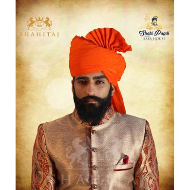 S H A H I T A J Traditional Rajasthani Wedding Barati Orange or Kesariya Cotton Jodhpuri & Rajputi Pagdi Safa or Turban for Kids and Adults (CT161)-ST241_18andHalf