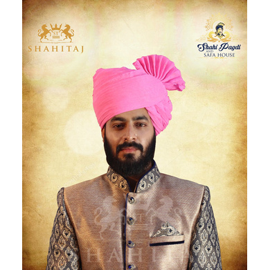 S H A H I T A J Traditional Rajasthani Cotton Wedding Barati Pink Jodhpuri & Rajputi Pagdi Safa or Turban for Kids and Adults (CT163)-ST243_23