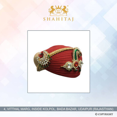 S H A H I T A J Traditional Rajasthani Mewadi Cotton Wedding Pagdi or Turban Red Colored for Groom or Dulha (MT149)-ST228_23andHalf