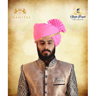 S H A H I T A J Traditional Rajasthani Cotton Wedding Barati Pink Jodhpuri & Rajputi Pagdi Safa or Turban with Pachewadi for Kids and Adults (CT164)-ST244_20andHalf