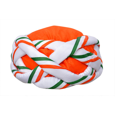 S H A H I T A J Traditional Rajasthani Faux Silk Tricolor or Tiranga Vantma Pagdi Safa or Turban Multi-Colored for Kids and Adults (RT136)-ST214_18andHalf