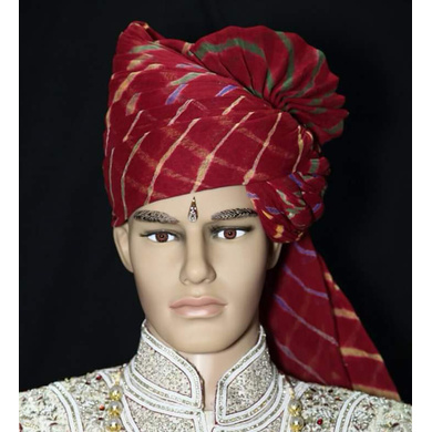 S H A H I T A J Traditional Rajasthani Wedding Barati Cotton Red Lehariya Pagdi Jodhpuri & Rajputi Safa or Turban for Kids and Adults (CT165)-ST245_19andHalf