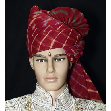 S H A H I T A J Traditional Rajasthani Wedding Barati Cotton Red Lehariya Pagdi Jodhpuri & Rajputi Safa or Turban for Kids and Adults (CT165)-22-1