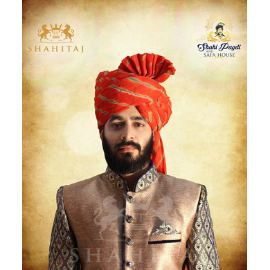 S H A H I T A J Traditional Rajasthani Wedding Barati Cotton Orange or Kesariya Lehariya Jodhpuri & Rajputi Pagdi Safa or Turban for Kids and Adults (CT166)-ST246_23andHalf