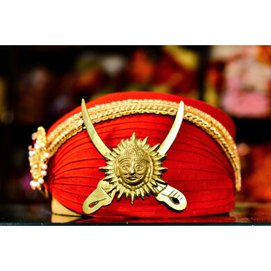 S H A H I T A J Traditional Rajasthani Red Cotton Mewadi Pagdi or Turban for Kids and Adults (MT101)-ST179_19andHalf