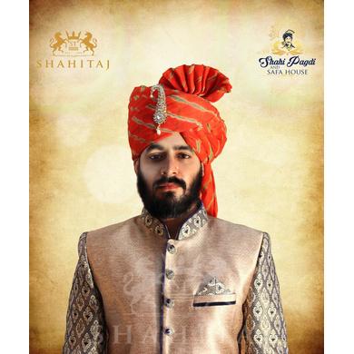 S H A H I T A J Traditional Rajasthani Wedding Barati Orange or Kesariya Lehariya Cotton Jodhpuri & Rajputi Pagdi Safa or Turban with Brooch for Kids and Adults (CT167)-ST247_22andHalf