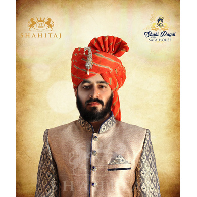 S H A H I T A J Traditional Rajasthani Wedding Barati Orange or Kesariya Lehariya Cotton Jodhpuri & Rajputi Pagdi Safa or Turban with Brooch for Kids and Adults (CT167)-ST247_23