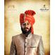 S H A H I T A J Traditional Rajasthani Wedding Barati Orange or Kesariya Lehariya Cotton Jodhpuri & Rajputi Pagdi Safa or Turban with Brooch for Kids and Adults (CT167)-ST247_23andHalf-sm