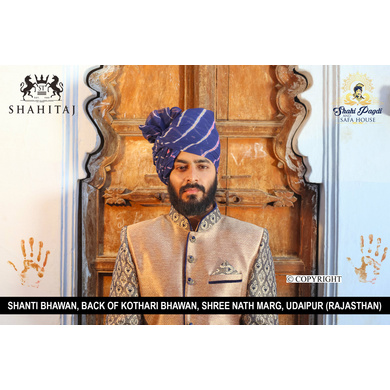 S H A H I T A J Traditional Rajasthani Wedding Barati Blue Cotton Lehariya Udaipuri & Rajputi Pagdi Safa or Turban for Kids and Adults (CT168)-ST248_20andHalf