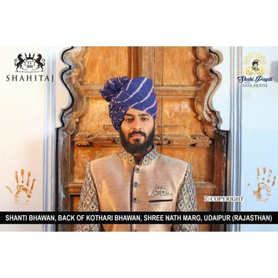 S H A H I T A J Traditional Rajasthani Wedding Barati Blue Cotton Lehariya Udaipuri & Rajputi Pagdi Safa or Turban for Kids and Adults (CT168)-ST248_22andHalf