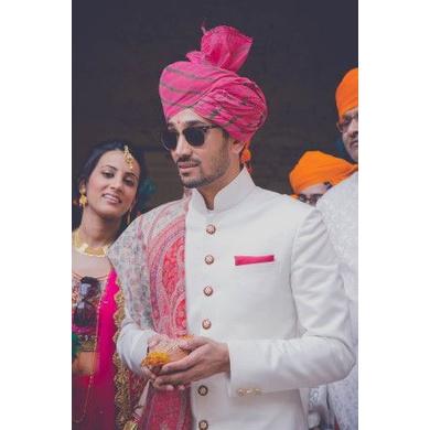 S H A H I T A J Traditional Rajasthani Wedding Barati Pink Lehariya Cotton Udaipuri & Rajputi Pagdi Safa or Turban for Kids and Adults (CT169)-ST249_21andHalf