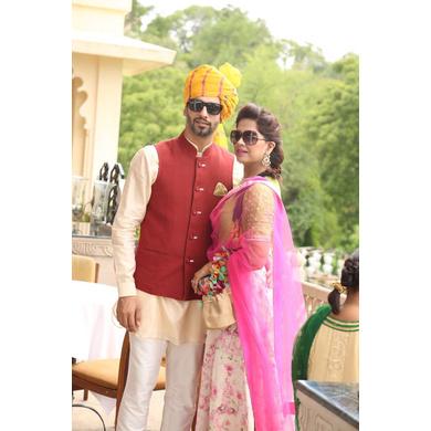 S H A H I T A J Traditional Rajasthani Wedding Barati Yellow Lehariya Cotton Udaipuri Pagdi Safa or Turban for Kids and Adults (CT170)-ST250_18andHalf