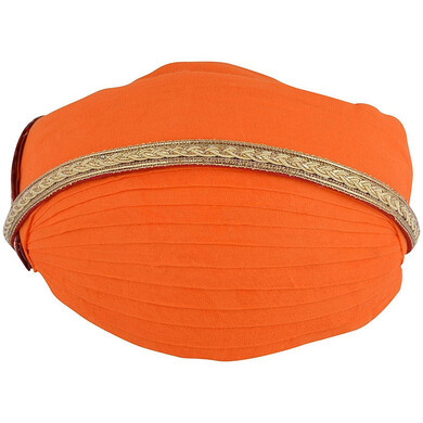 S H A H I T A J Traditional Rajasthani Cotton Mewadi Pagdi or Turban Orange-Colored for Kids and Adults (MT86)-ST164_21andHalf