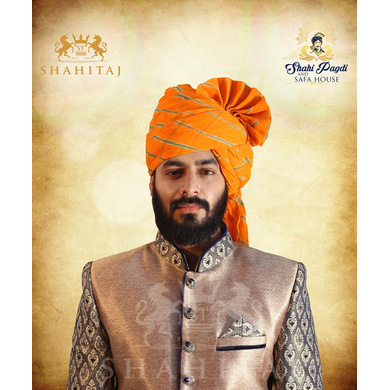S H A H I T A J Traditional Rajasthani Wedding Barati Aamras Cotton Lehariya Jodhpuri & Rajputi Pagdi Safa or Turban for Kids and Adults (CT172)-ST252_21andHalf