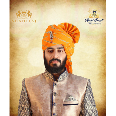 S H A H I T A J Traditional Rajasthani Wedding Barati Aamras Cotton Lehariya Jodhpuri & Rajputi Pagdi Safa or Turban with Brooch for Kids and Adults (CT173)-ST253_23andHalf