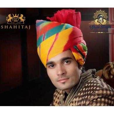 S H A H I T A J Traditional Rajasthani Wedding Barati Cotton Multi-Colored Jodhpuri & Rajputi Pagdi Safa or Turban for Kids and Adults (CT174)-ST254_19andHalf