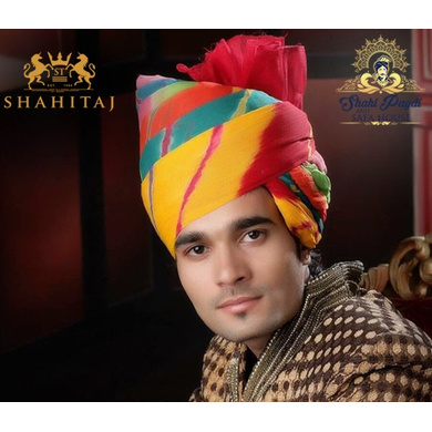 S H A H I T A J Traditional Rajasthani Wedding Barati Cotton Multi-Colored Jodhpuri & Rajputi Pagdi Safa or Turban for Kids and Adults (CT174)-ST254_22andHalf
