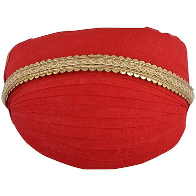 S H A H I T A J Traditional Rajasthani Red Cotton Mewadi Pagdi or Turban for Kids and Adults (MT85)-ST163_23andHalf