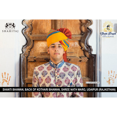 S H A H I T A J Traditional Rajasthani Wedding Barati Cotton Checkered Multi-Colored Jodhpuri & Rajputi Pagdi Safa or Turban for Kids and Adults (CT177)-ST257_18andHalf