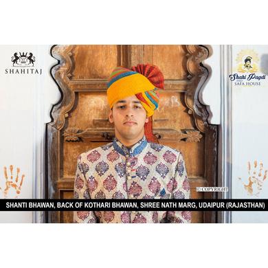 S H A H I T A J Traditional Rajasthani Wedding Barati Cotton Checkered Multi-Colored Jodhpuri & Rajputi Pagdi Safa or Turban for Kids and Adults (CT177)-ST257_19andHalf
