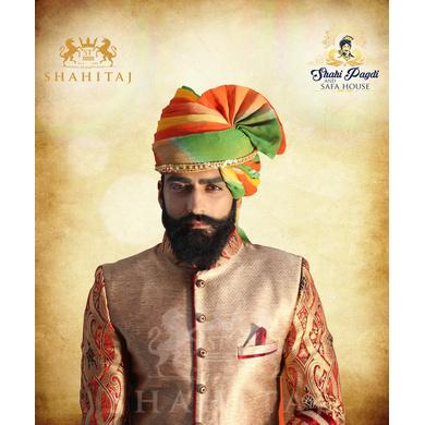 S H A H I T A J Traditional Rajasthani Wedding Barati Multi-Colored Shaded Cotton Jodhpuri & Rajputi Pagdi Safa or Turban with Pachewadi for Kids and Adults (CT178)-ST258_23andHalf