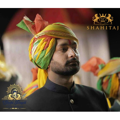 S H A H I T A J Traditional Rajasthani Wedding Barati Multi-Colored Shaded Cotton Jodhpuri & Rajputi Pagdi Safa or Turban with Pachewadi for Kids and Adults (CT178)-18-3
