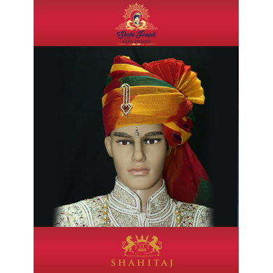 S H A H I T A J Traditional Rajasthani Wedding Barati Cotton Multi-Colored Jodhpuri & Rajputi Pagdi Safa or Turban with Brooch for Kids and Adults (CT180)-ST260_18andHalf