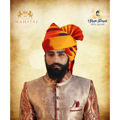S H A H I T A J Traditional Rajasthani Wedding Barati Cotton Multi-Colored Jodhpuri & Rajputi Pagdi Safa or Turban with Brooch for Kids and Adults (CT180)-18-3