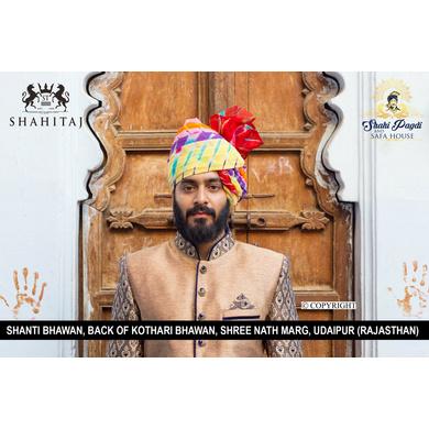 S H A H I T A J Traditional Rajasthani Wedding Barati Cotton Multi-Colored Lehariya Jodhpuri & Rajputi Pagdi Safa or Turban for Kids and Adults (CT182)-ST262_18andHalf