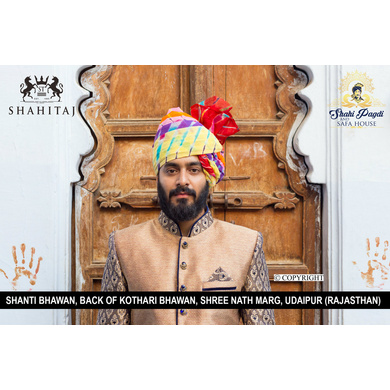 S H A H I T A J Traditional Rajasthani Wedding Barati Cotton Multi-Colored Lehariya Jodhpuri & Rajputi Pagdi Safa or Turban for Kids and Adults (CT182)-ST262_20andHalf