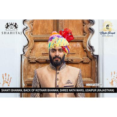 S H A H I T A J Traditional Rajasthani Wedding Barati Cotton Multi-Colored Lehariya Jodhpuri & Rajputi Pagdi Safa or Turban with Brooch for Kids and Adults (CT183)-ST263_19