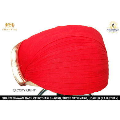 S H A H I T A J Traditional Rajasthani Red or Kasumal Cotton Mewadi Pagdi or Turban for Kids and Adults (MT79)-ST157_22andHalf