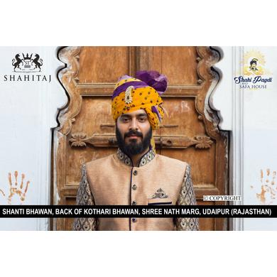 S H A H I T A J Traditional Rajasthani Wedding Barati Bandhej Multi-Colored Cotton Jodhpuri & Rajputi Pagdi Safa or Turban with Brooch for Kids and Adults (CT184)-ST264_21andHalf