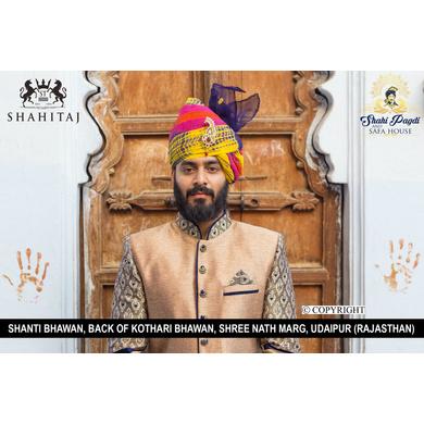 S H A H I T A J Traditional Rajasthani Wedding Barati Multi-Colored Cotton Jodhpuri & Rajputi Pagdi Safa or Turban with Brooch for Kids and Adults (CT185)-ST265_18andHalf