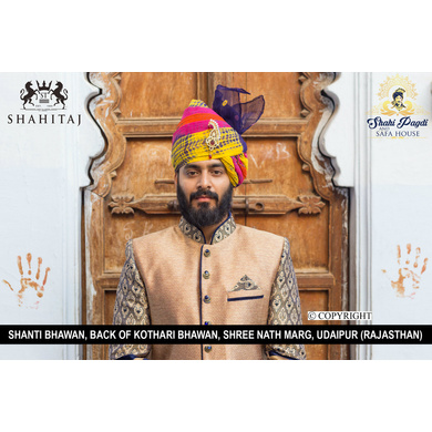 S H A H I T A J Traditional Rajasthani Wedding Barati Multi-Colored Cotton Jodhpuri & Rajputi Pagdi Safa or Turban with Brooch for Kids and Adults (CT185)-ST265_22