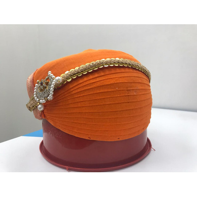 S H A H I T A J Traditional Rajasthani Cotton Mewadi Pagdi or Turban Orange-Colored for Kids and Adults (MT106)-ST184_18