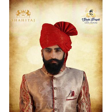 S H A H I T A J Traditional Rajasthani Wedding Barati Zari Staight Line Red Cotton Jodhpuri & Rajputi Pagdi Safa or Turban for Kids and Adults (CT186)-ST266_18