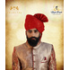 S H A H I T A J Traditional Rajasthani Wedding Barati Zari Staight Line Red Cotton Jodhpuri & Rajputi Pagdi Safa or Turban for Kids and Adults (CT186)-ST266_21andHalf-sm