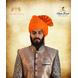 S H A H I T A J Traditional Rajasthani Wedding Barati Zari Straight Line Orange or Kesariya Cotton Jodhpuri & Rajputi Pagdi Safa or Turban for Kids and Adults (CT187)-ST267_21andHalf-sm